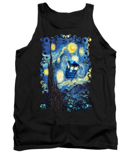 Weird Flying Phone Booth Starry The Night Tank Top by Three Second