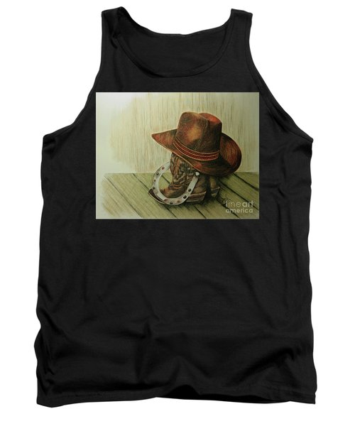 Tank Top featuring the drawing Western Wares by Terri Mills