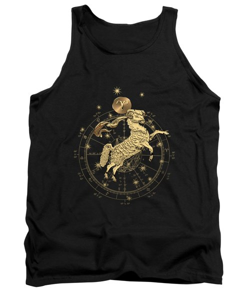 Western Zodiac - Golden Aries -the Ram On Black Canvas Tank Top