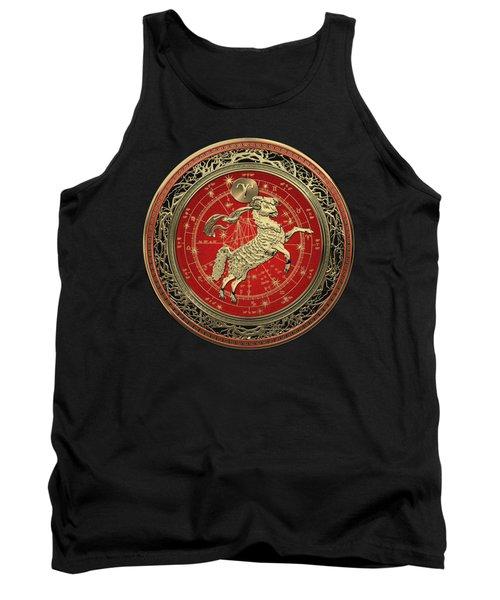 Western Zodiac - Golden Aries -the Ram On Black Velvet Tank Top