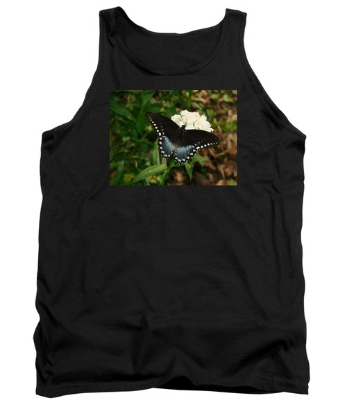 White Flowered Butterfly Tank Top