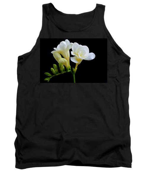 White Freesia Tank Top by Terence Davis
