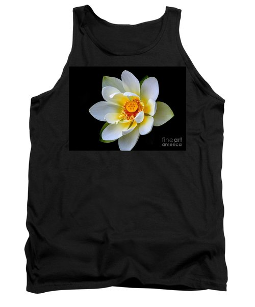 White Lotus Flower Tank Top