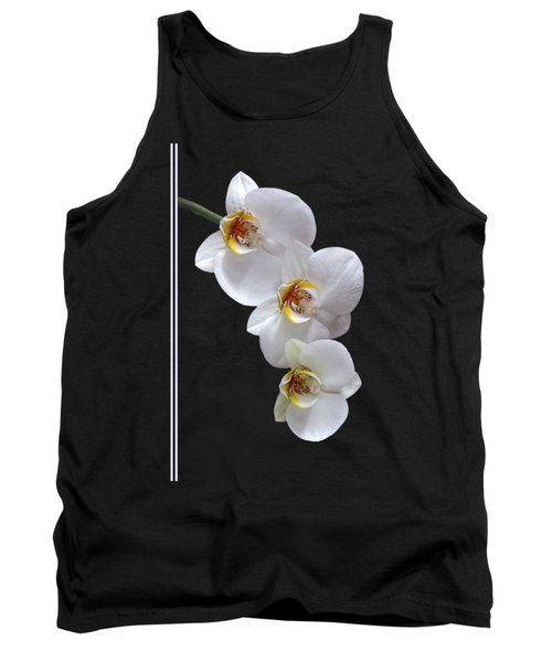 White Orchids On Black Vertical Tank Top by Gill Billington