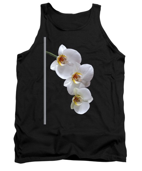 White Orchids On Black Vertical Tank Top