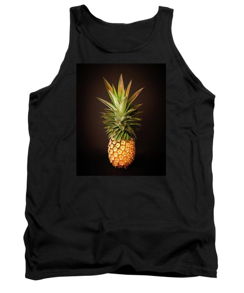 White Pineapple King Tank Top by Denise Bird