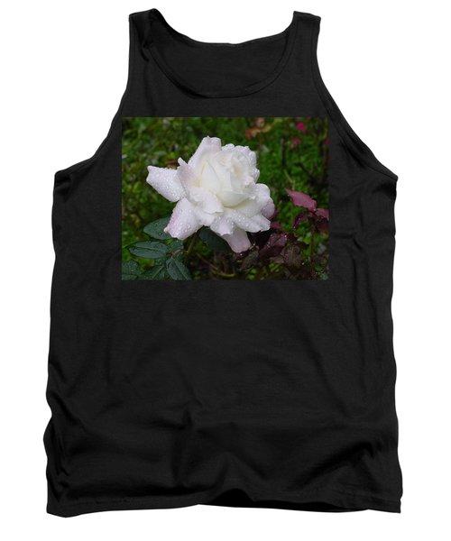 White Rose In Rain Tank Top