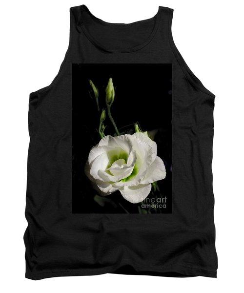 White Rose On Black Tank Top
