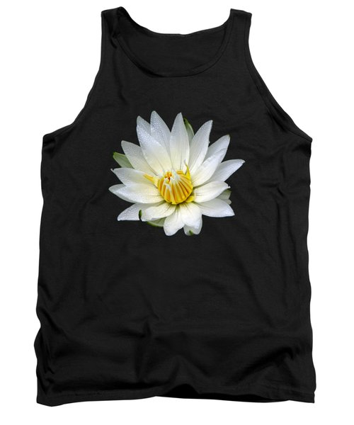 White Waterlily With Dewdrops Tank Top by Rose Santuci-Sofranko