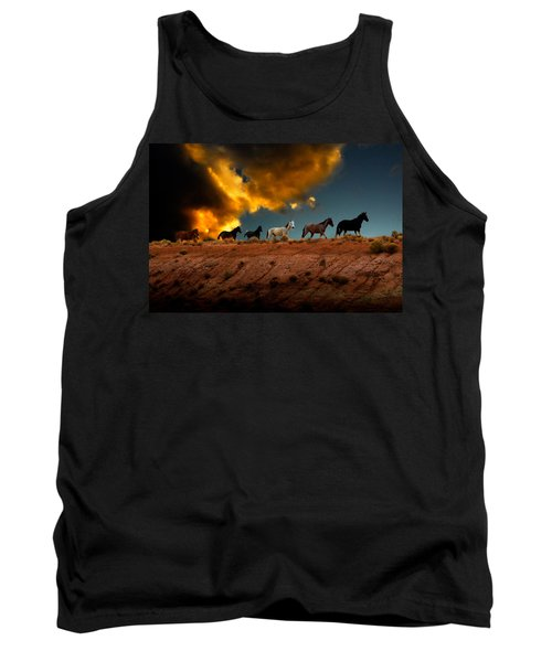 Wild Horses At Sunset Tank Top by Harry Spitz