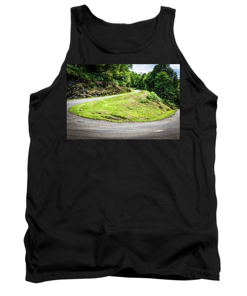 Tank Top featuring the photograph Winding Road With Sharp Bend Going Up The Mountain by Semmick Photo