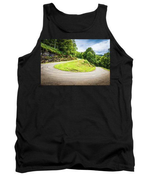 Tank Top featuring the photograph Winding Road With Sharp Curve Going Up The Mountain by Semmick Photo