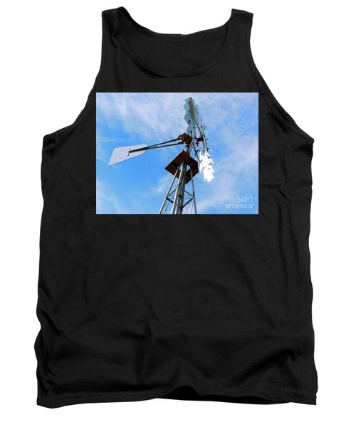 Tank Top featuring the photograph Windmill - Mildly Cloudy Day by Ray Shrewsberry