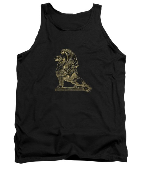Winged Chimera From Theater De Bellecour, Lyon, France, In Gold On Black Tank Top