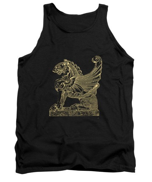 Tank Top featuring the digital art Winged Lion Chimera From Casa San Isidora, Santiago, Chile, In Gold On Black by Serge Averbukh