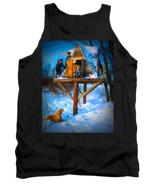 Winter Scene Three Kids And Dog Playing In A Treehouse Tank Top