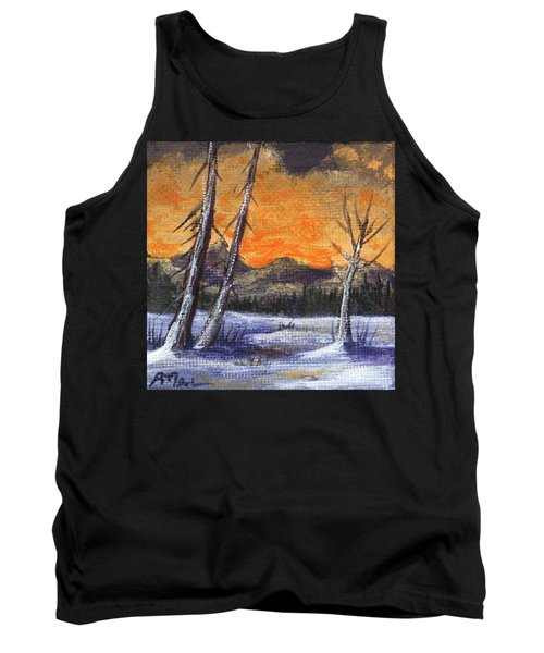 Tank Top featuring the painting Winter Solitude #1 by Anastasiya Malakhova