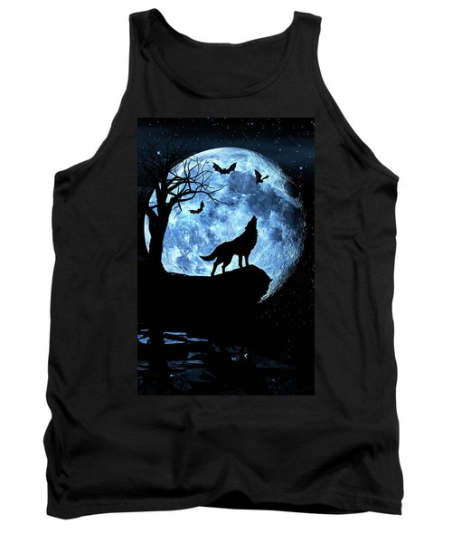Wolf Howling At Full Moon With Bats Tank Top
