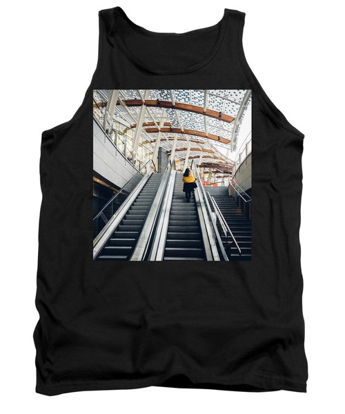 Woman Going Up Escalator In Milan, Italy Tank Top