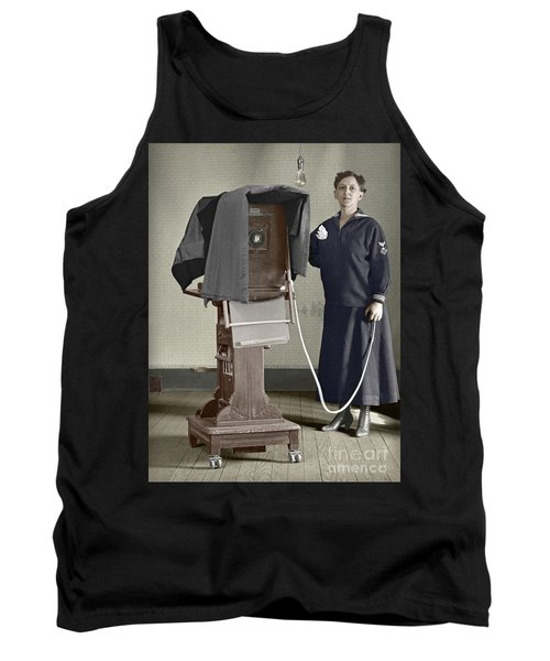 Tank Top featuring the photograph Woman Photographer With Large Camera 1900 by Martin Konopacki Restoration