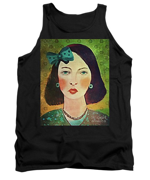 Tank Top featuring the digital art Woman With Blue Hair Bow by Alexis Rotella