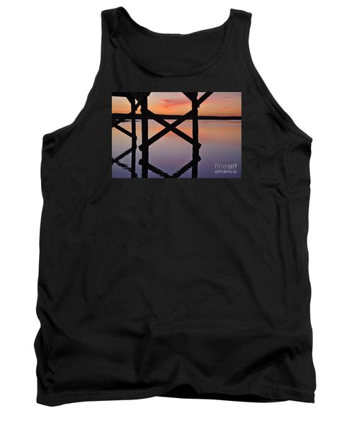 Wooden Bridge Silhouette At Dusk Tank Top