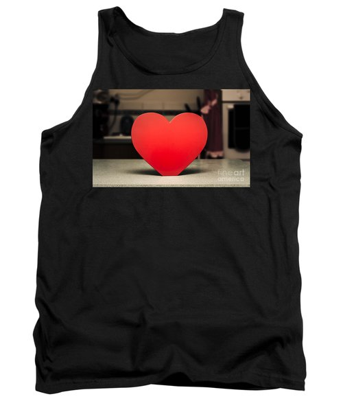 Wooden Heart Shape Chopping Block On Kitchen Bench Tank Top