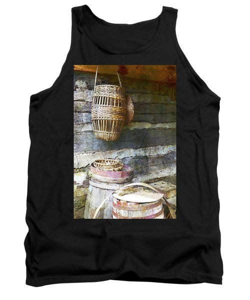 Woven Wood And Stone Tank Top