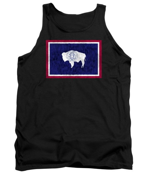 Wyoming Map Art With Flag Design Tank Top by World Art Prints And Designs