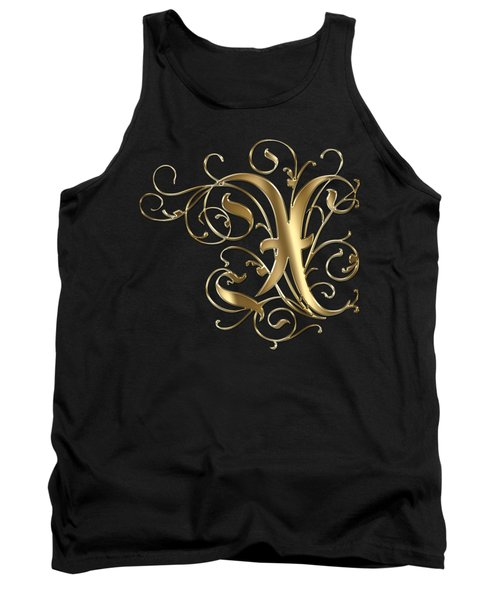 X Golden Ornamental Letter Typography Tank Top