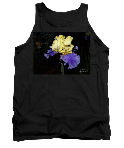 Yellow And Blue Iris Tank Top by Kathy McClure