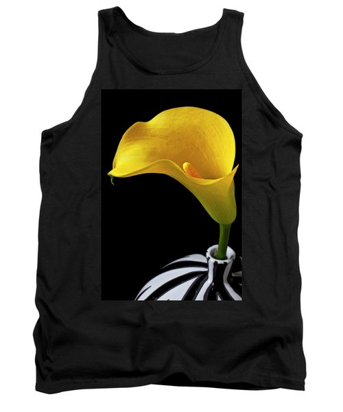 Yellow Calla Lily In Black And White Vase Tank Top