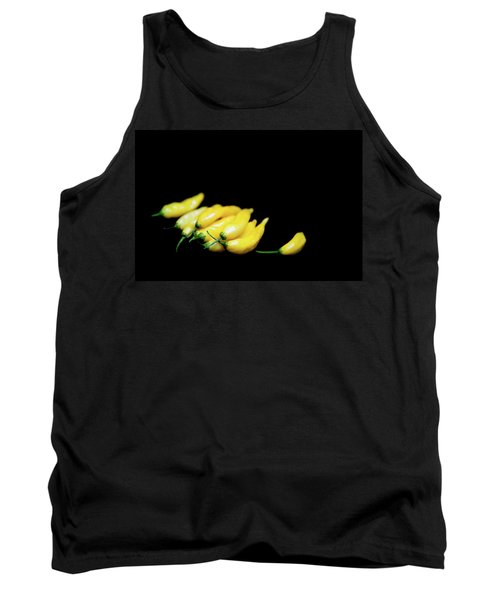 Yellow Chillies On A Black Background Tank Top
