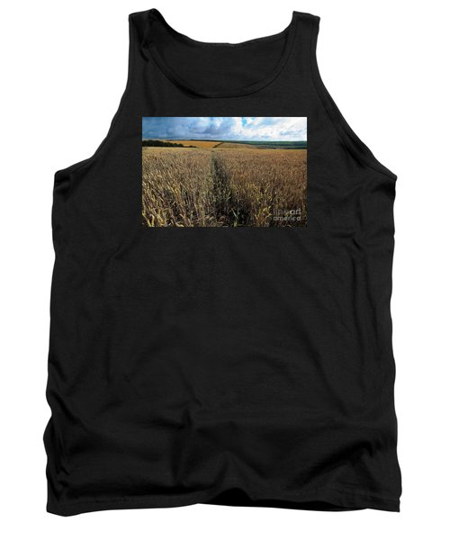 Tank Top featuring the photograph Yellow Filds And Fluffy Clouds by Gary Bridger