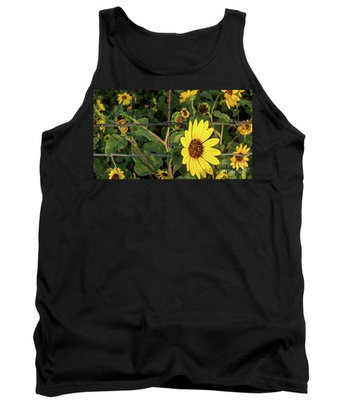Yellow Flower Escaping From A Barb Wire Fence Tank Top