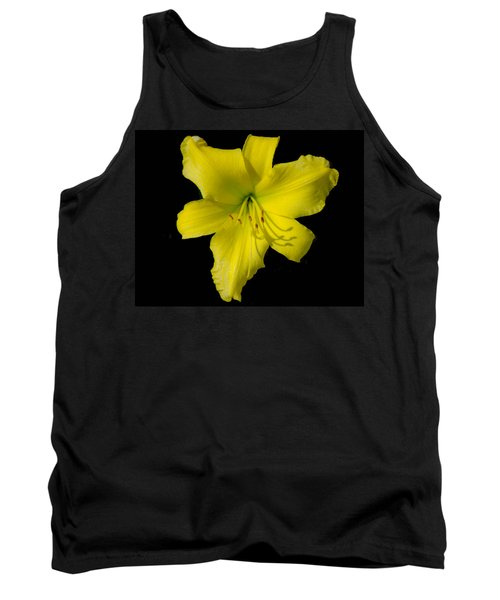 Yellow Lily Flower Black Background Tank Top