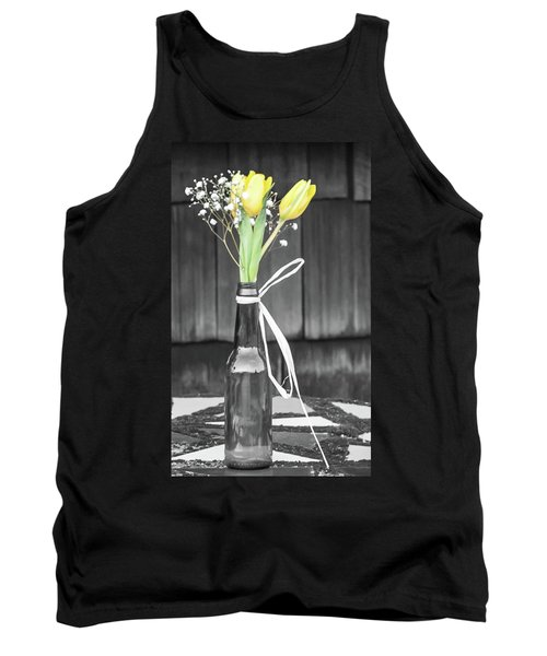 Tank Top featuring the photograph Yellow Tulips In Glass Bottle by Terry DeLuco