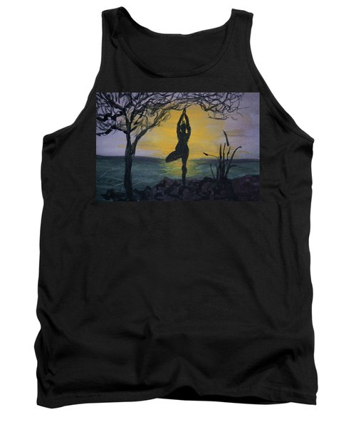 Yoga Tree Pose Tank Top by Donna Walsh