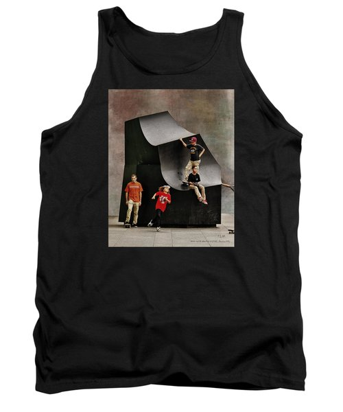 Tank Top featuring the photograph Young Skaters Around A Sculpture by Pedro L Gili