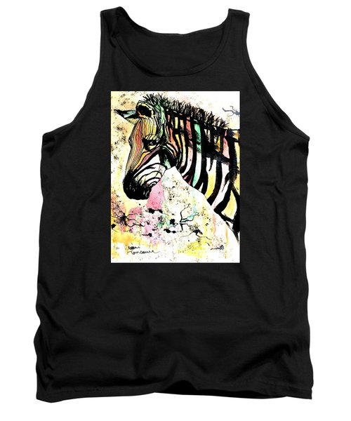 Tank Top featuring the painting Zebra by Denise Tomasura