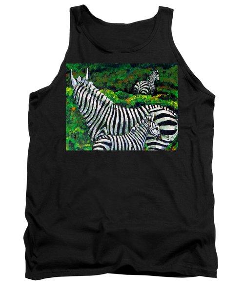 Zebra Family Tank Top by Shirley Heyn