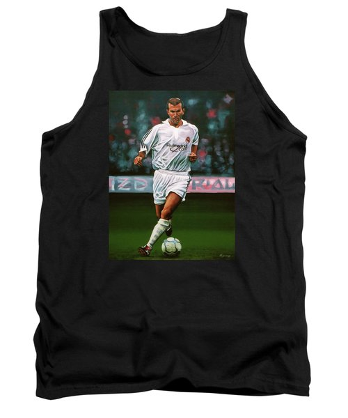 Zidane At Real Madrid Painting Tank Top by Paul Meijering