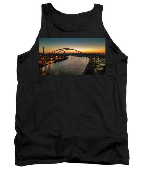 Tank Top featuring the photograph Hoan Bridge At Dusk by Randy Scherkenbach