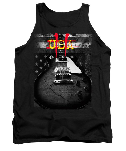 Abstract Relic Guitar Usa Flag Tank Top