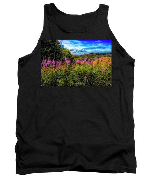 Art Photo Of Vermont Rolling Hills With Pink Flowers In The Fore Tank Top