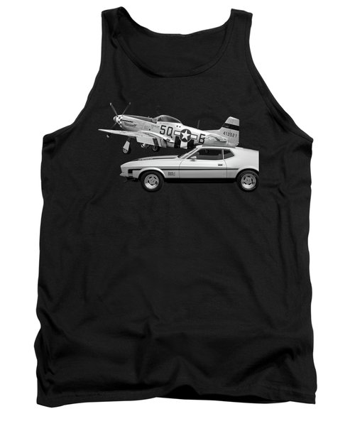 Mach 1 Mustang With P51 In Black And White Tank Top