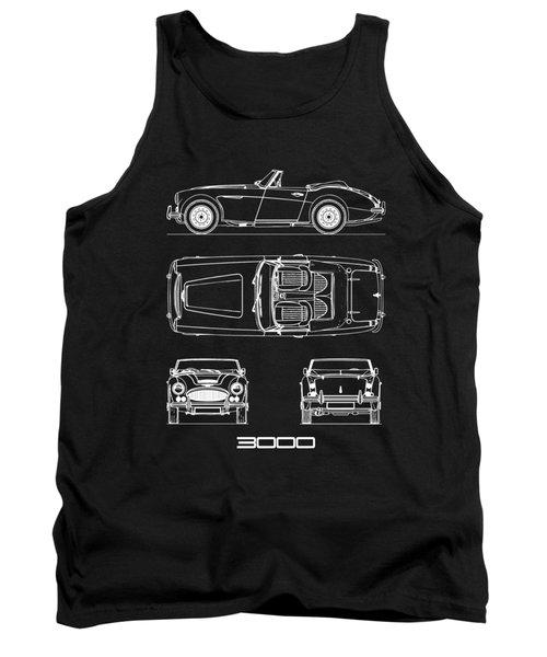 Austin-healey 3000 Blueprint Black Tank Top