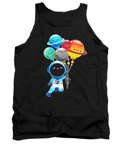 Astronaut With Planet Balloons Outta Space Tank Top