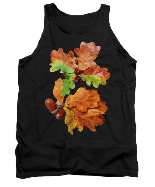 Autumn Oak Leaves And Acorns On Black Tank Top