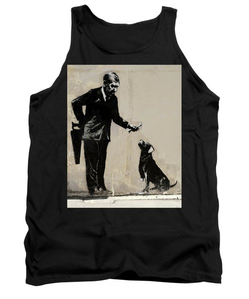 Banksy Paris Man With Bone And Dog Tank Top